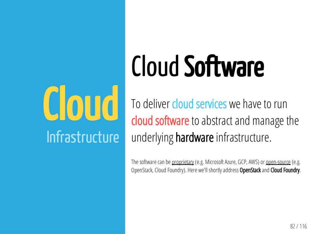 82 / 116 Cloud Infrastructure Cloud Software To...