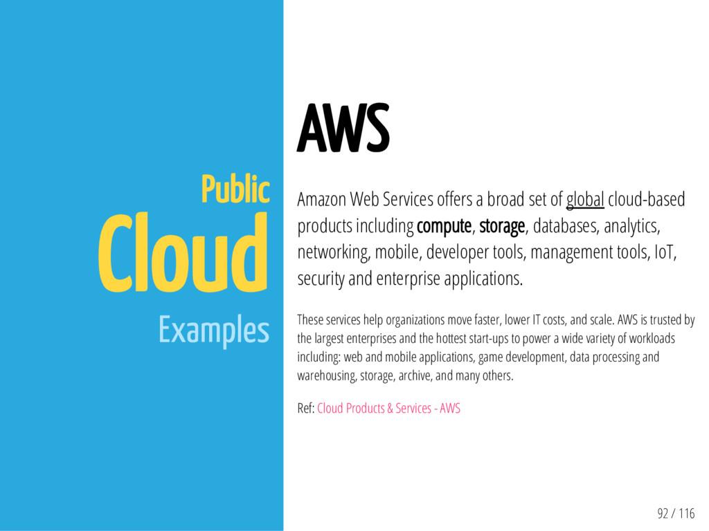 92 / 116 Public Cloud Examples AWS Amazon Web S...