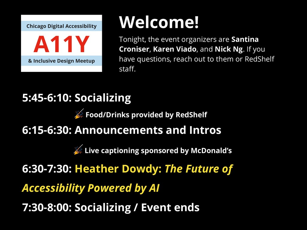 Welcome! Tonight, the event organizers are Sant...