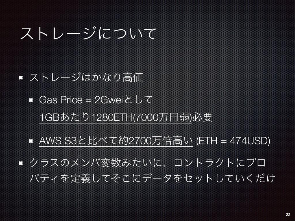 ετϨʔδʹ͍ͭͯ ετϨʔδ͔ͳΓߴՁ Gas Price = 2Gweiͱͯ͠ 1GB...