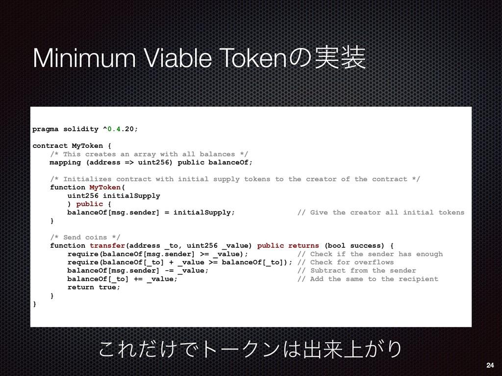 Minimum Viable Tokenͷ࣮ pragma solidity ^0.4.20...