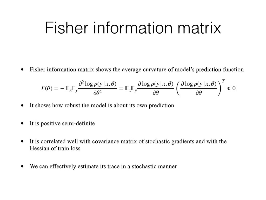 Fisher information matrix • Fisher information ...