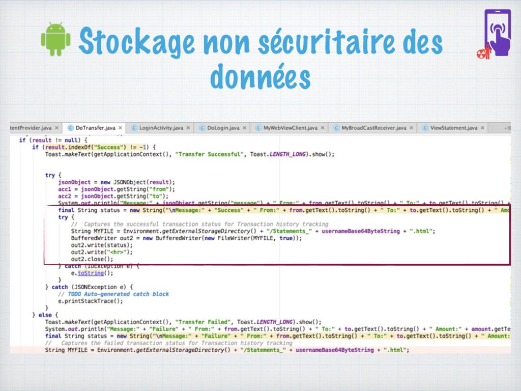 Stockage non sécuritaire des données