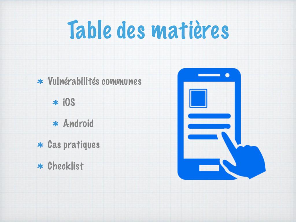 Table des matières Vulnérabilités communes iOS ...