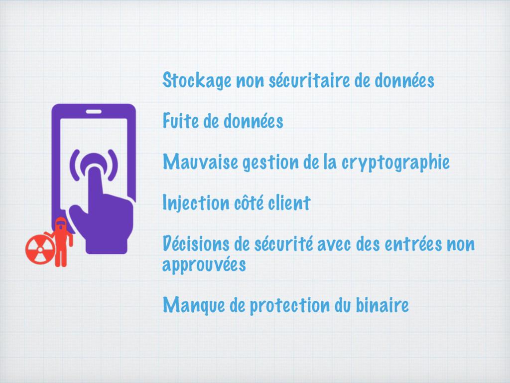 Stockage non sécuritaire de données Fuite de do...