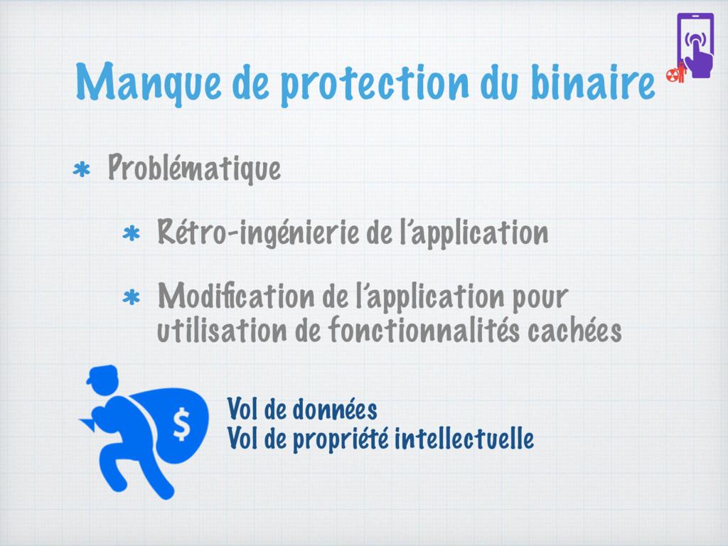 Manque de protection du binaire Problématique R...