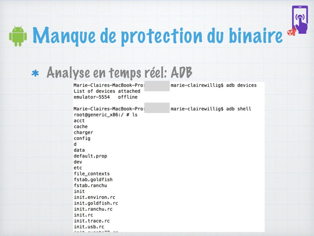 Manque de protection du binaire Analyse en temp...