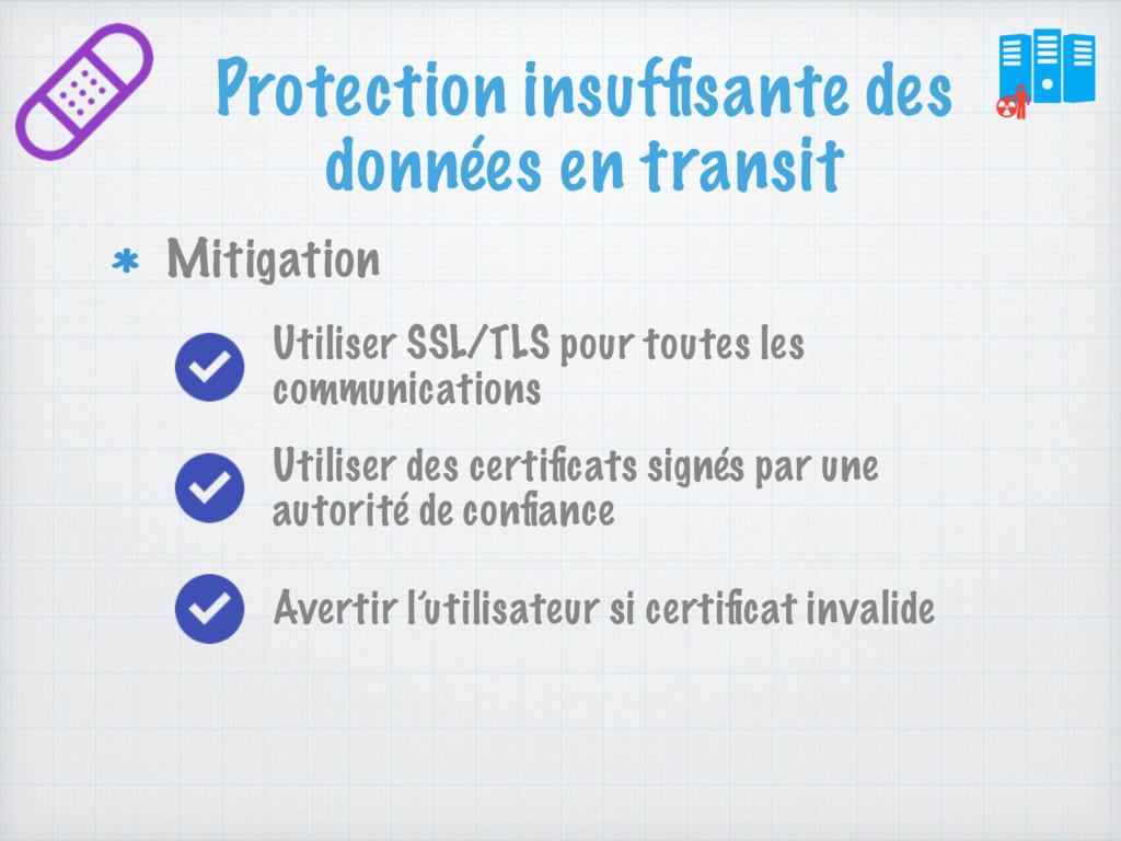 Protection insuffisante des données en transit M...