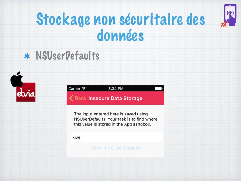 Stockage non sécuritaire des données NSUserDefa...