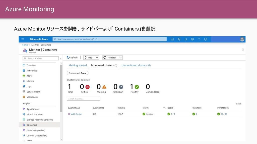 Azure Monitoring Azure Monitor リソースを開き、サイドバーより「...