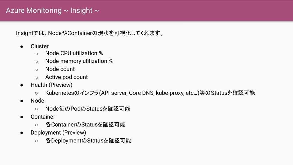 Azure Monitoring ~ Insight ~ Insightでは、NodeやCon...