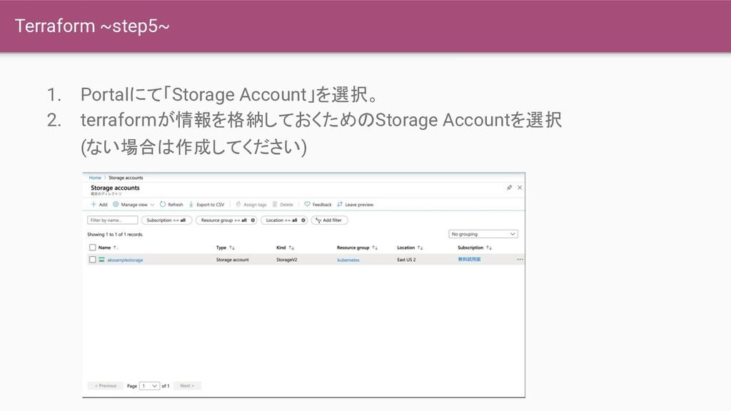 Terraform ~step5~ 1. Portalにて「Storage Account」を...