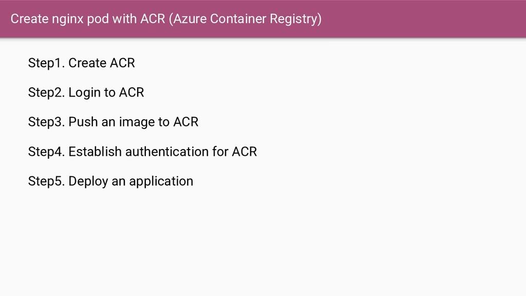 Step1. Create ACR Step2. Login to ACR Step3. Pu...