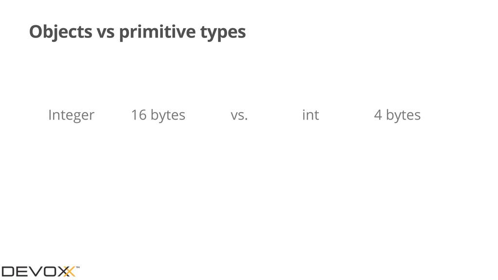 Objects vs primitive types Integer 16 bytes int...