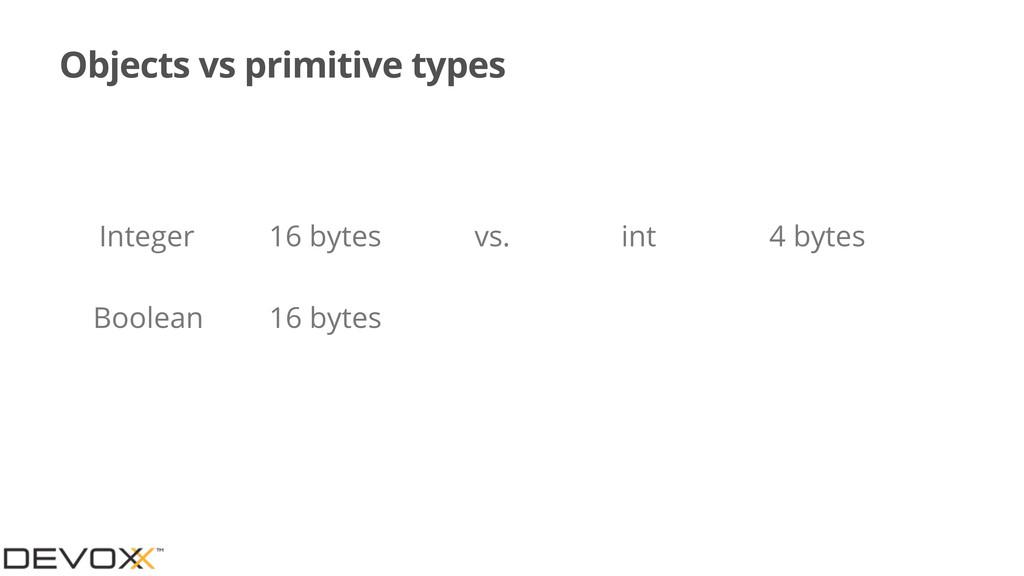Objects vs primitive types Integer 16 bytes Boo...