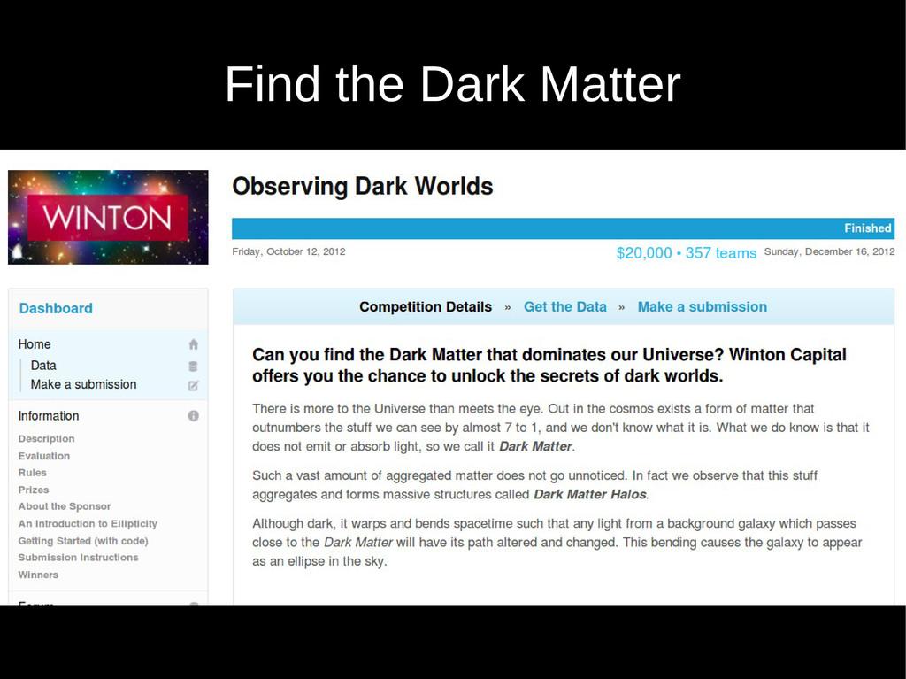 Find the Dark Matter