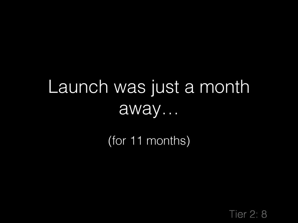 Launch was just a month away… ! (for 11 months)...
