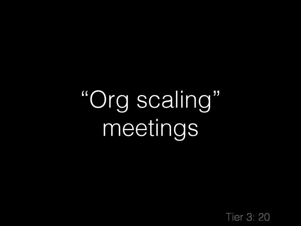 """Org scaling"" meetings Tier 3: 20"