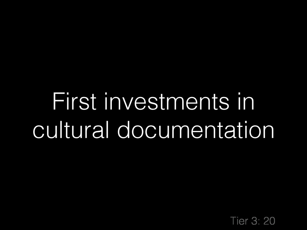 First investments in cultural documentation Tie...