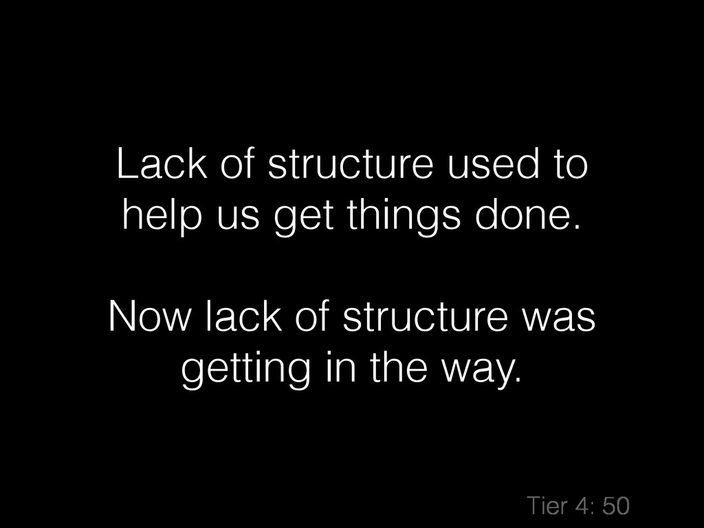 Lack of structure used to help us get things do...