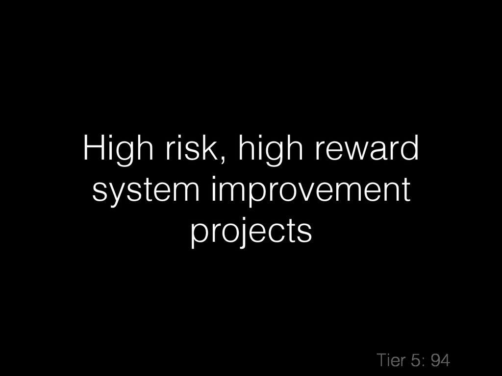 High risk, high reward system improvement proje...