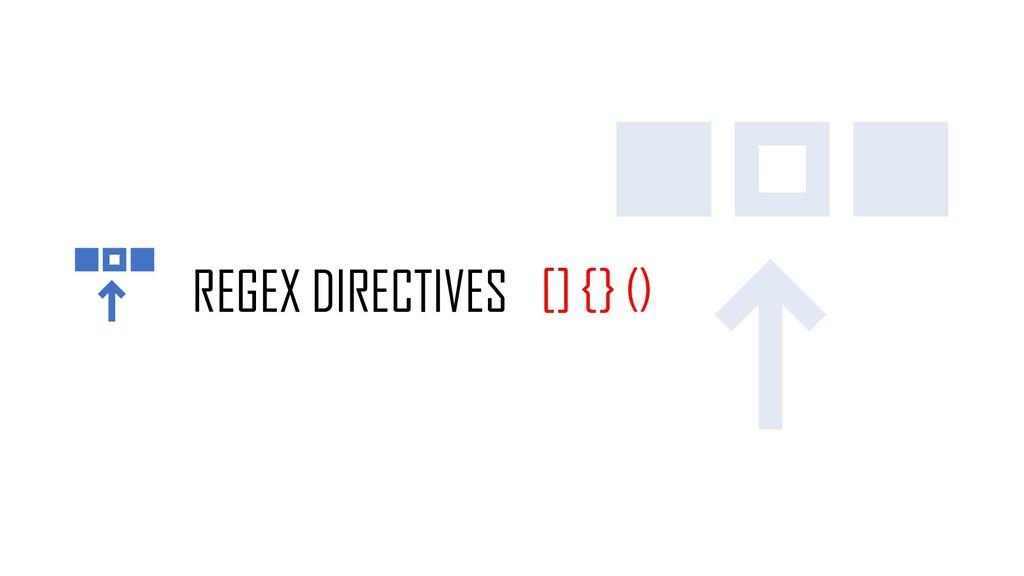 REGEX DIRECTIVES [] {} ()