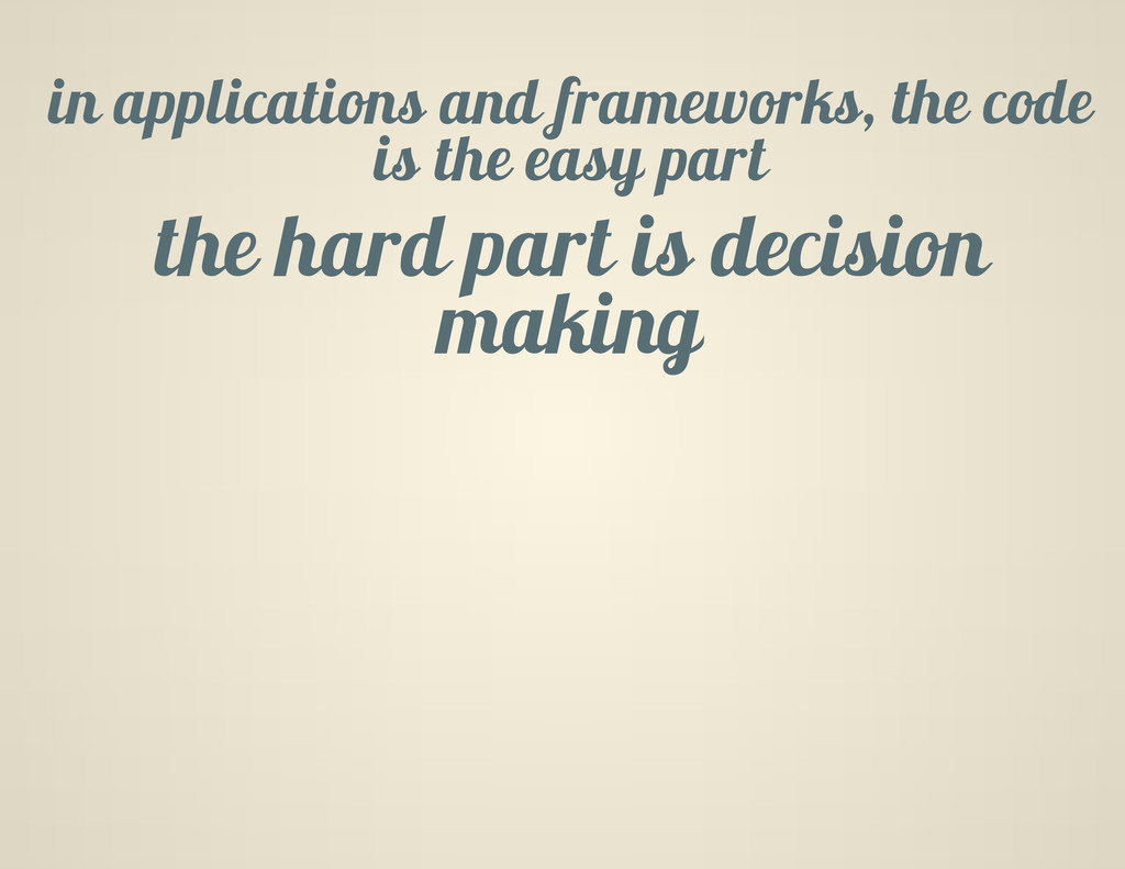 in applications and frameworks, the code is the...