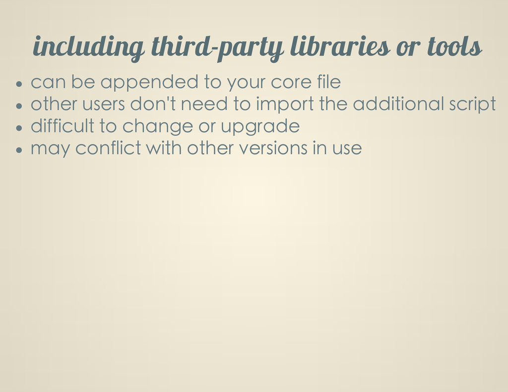 including third-party libraries or tools can be...
