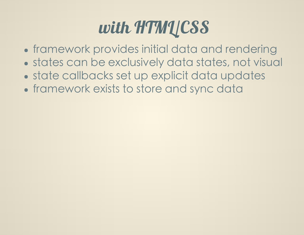 with HTML/CSS framework provides initial data a...