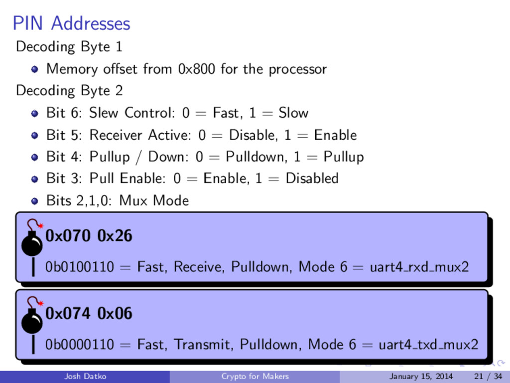 PIN Addresses Decoding Byte 1 Memory offset from...
