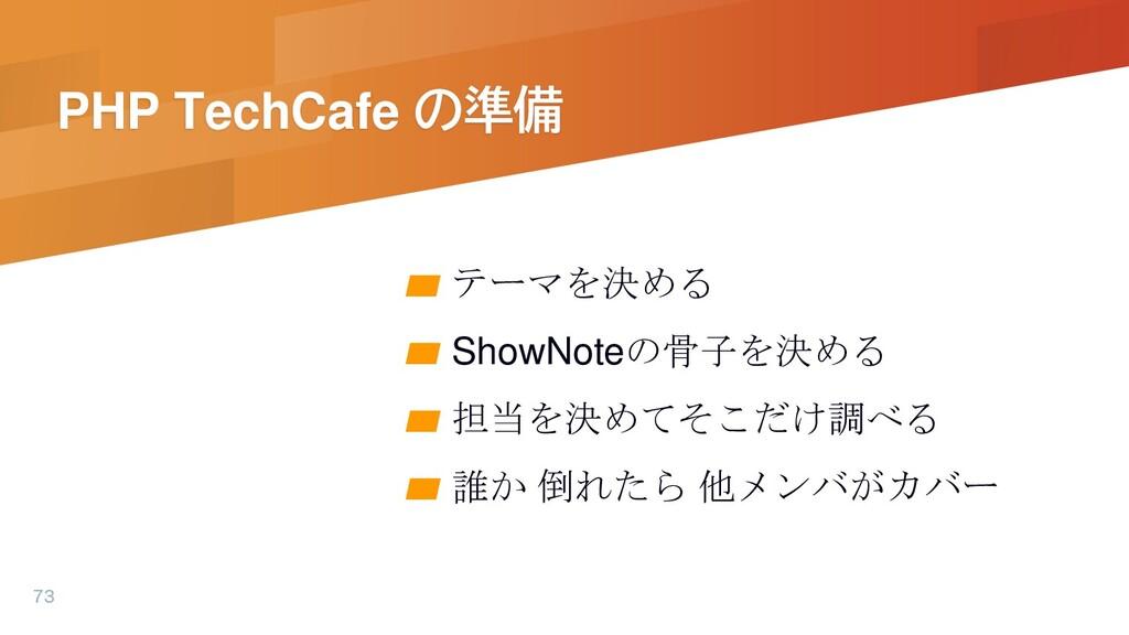 PHP TechCafe の準備 ▰ テーマを決める ▰ ShowNoteの骨子を決める ▰ ...