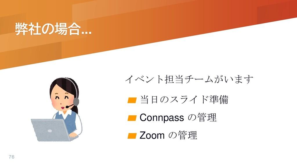 弊社の場合... イベント担当チームがいます ▰ 当日のスライド準備 ▰ Connpass の...