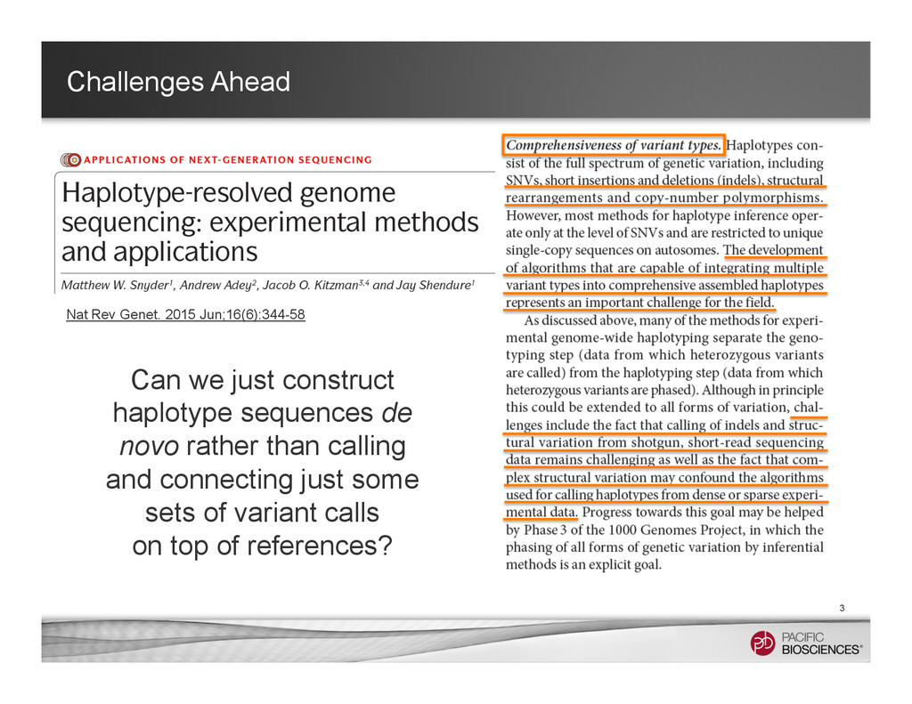Challenges Ahead 3 Can we just construct haplot...