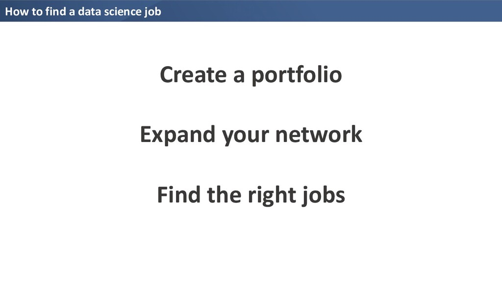 How to find a data science job Create a portfol...