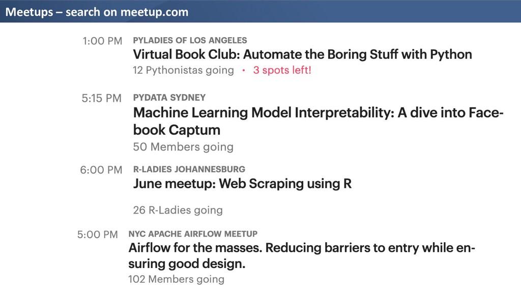 Meetups – search on meetup.com