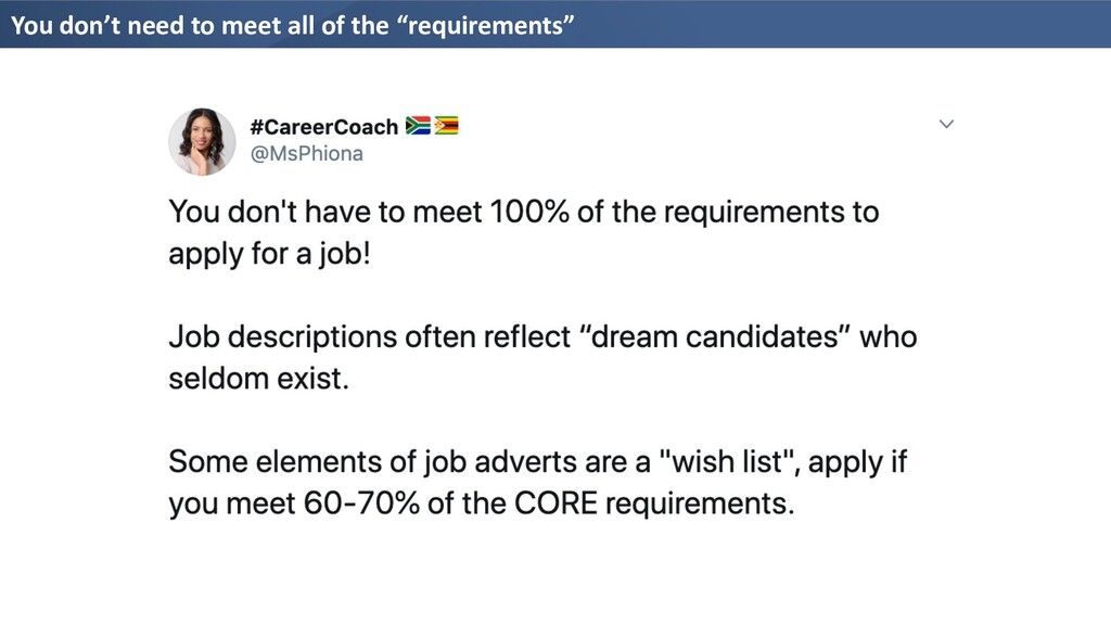 "You don't need to meet all of the ""requirements"""