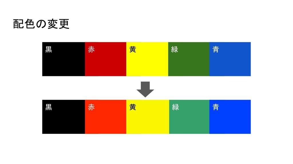 配色の変更  黒 赤 黒 赤 黄 黄 緑 緑 青 青