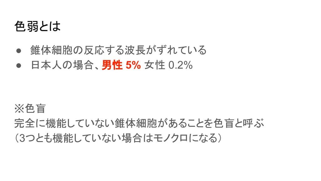 色弱とは ● 錐体細胞の反応する波長がずれている ● 日本人の場合、男性 5% 女性 0.2%...