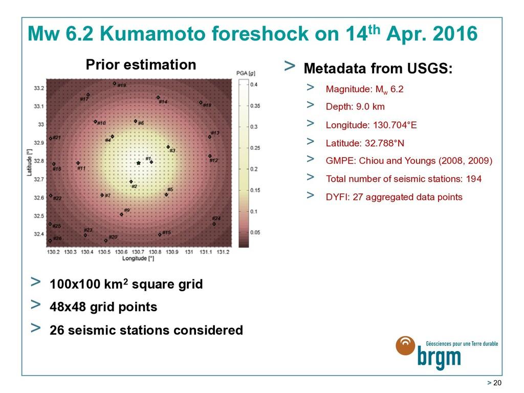 > 20 Mw 6.2 Kumamoto foreshock on 14th Apr. 201...