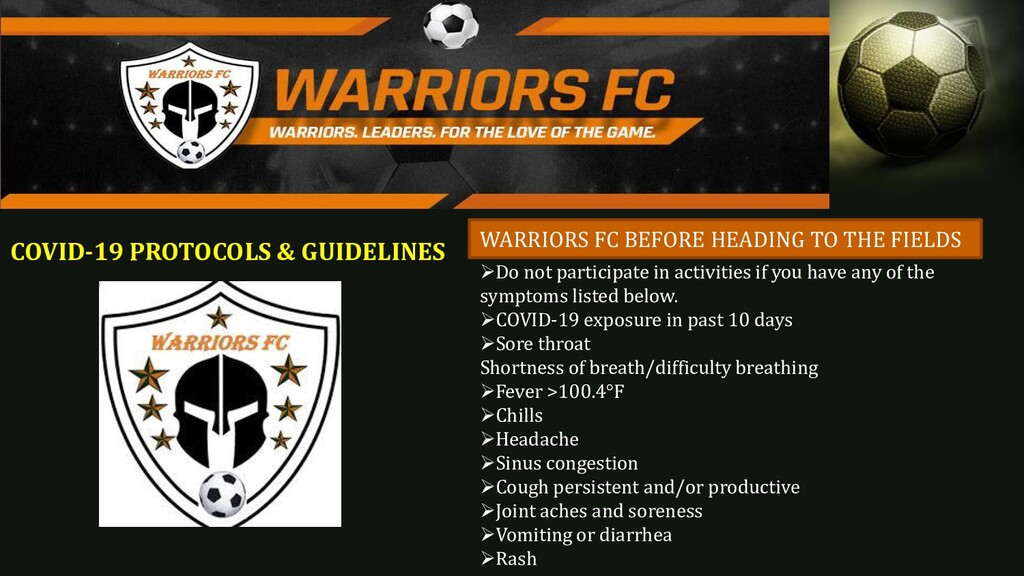 COVID-19 PROTOCOLS & GUIDELINES WARRIORS FC BEF...