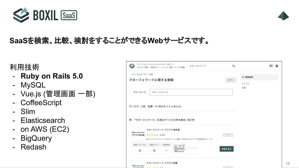 15 SaaSを検索、比較、検討をすることができるWebサービスです。 利用技術 - Ruby...