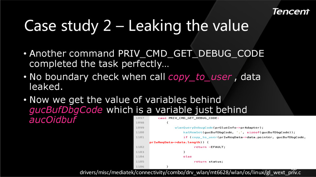 Case study 2 – Leaking the value 1097 case PRIV...