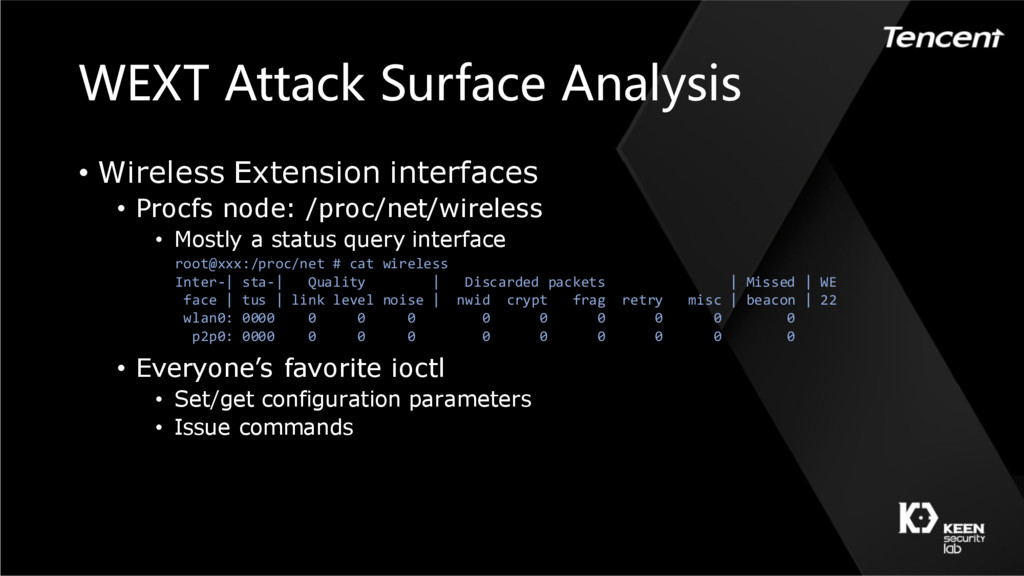 WEXT Attack Surface Analysis • Wireless Extensi...