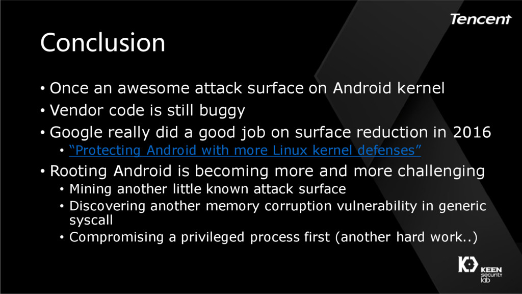 Conclusion • Once an awesome attack surface on ...
