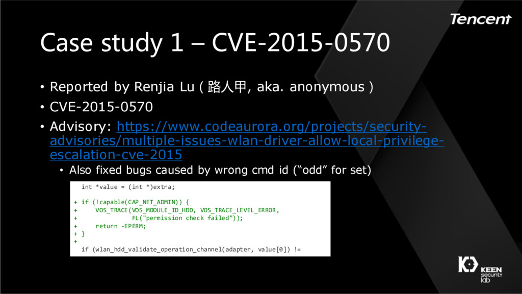 Case study 1 – CVE-2015-0570 • Reported by Renj...