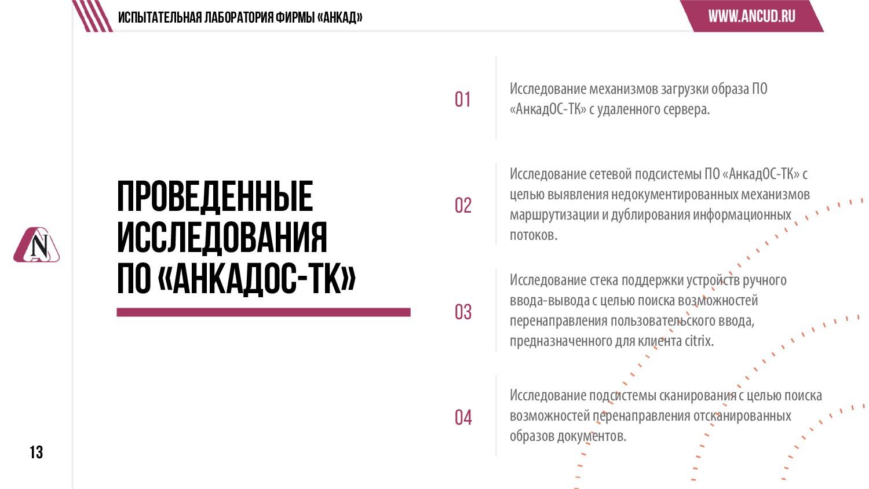 13 Проведенные исследования ПО «АнкадОС-ТК» Исс...