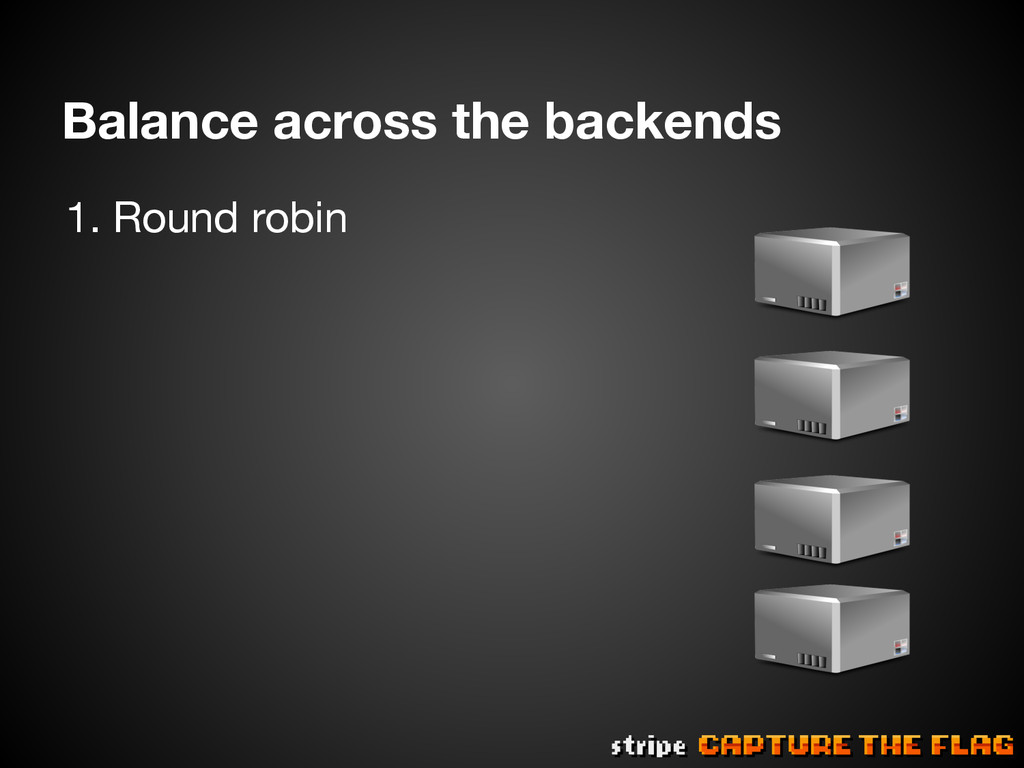 Balance across the backends 1.Round robin
