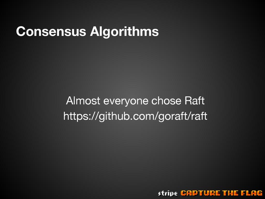 Consensus Algorithms   Almost everyone chose...