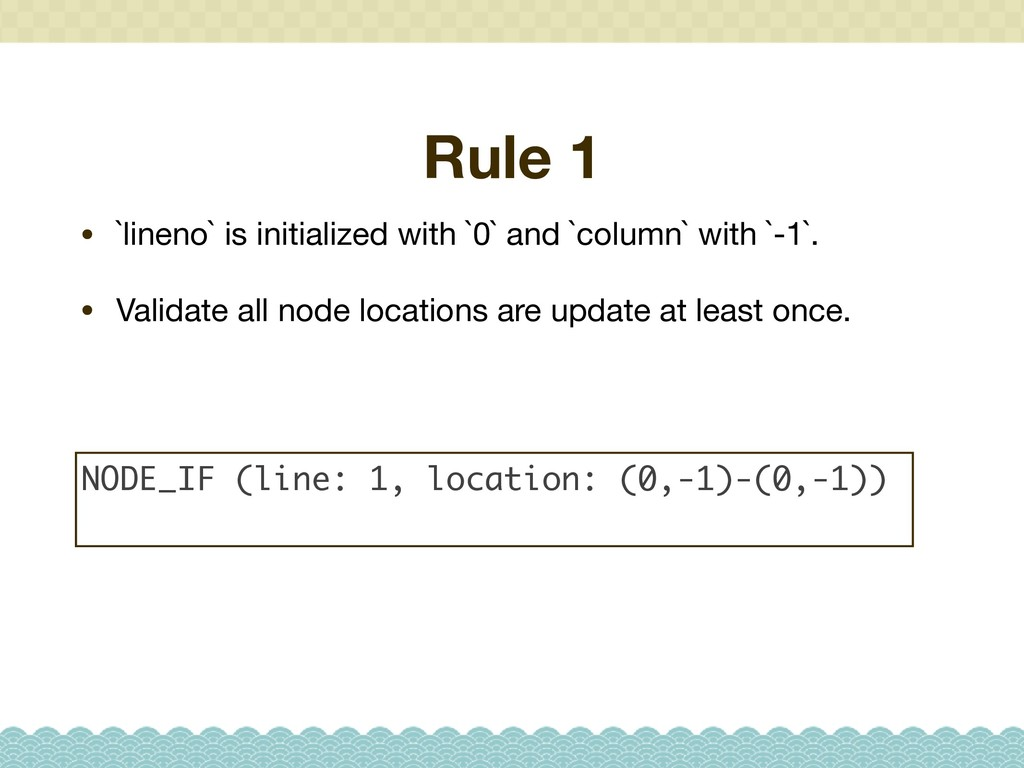 Rule 1 • `lineno` is initialized with `0` and `...
