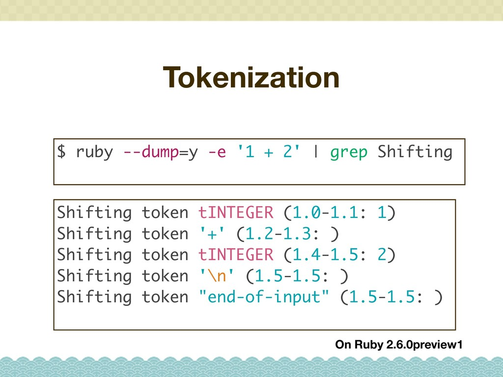 Tokenization $ ruby --dump=y -e '1 + 2' | grep ...